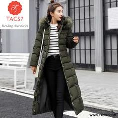 Women Long Cotton Parkas False Fur Collar Hooded Coat Winter Casual Slim Long Padded Jackets Wadded Snow Overcoat Green M Long Winter Coats, Winter Jackets, Warm Jackets, Hooded Parka, Padded Jacket, Fur Collars, Jackets For Women, Ladies Jackets, Winter Outfits