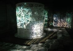 Ed Pien's Installation, The Witching Hour, paper, ice and projected images