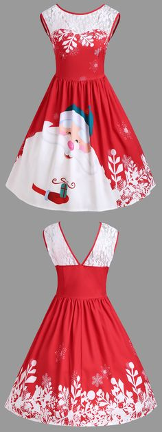 #MerryChristmas Only $13.44  | Santa Claus Print Party Dress | Sammydress.com