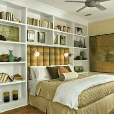 8 Interested Cool Tips: Small Master Bedroom Remodel guest bedroom remodel home.Bedroom Remodel Murphy Beds master bedroom remodel the doors. Headboard With Shelves, Bookshelves In Bedroom, Bookshelves Built In, Book Shelves, Wall Shelves, Headboard Ideas, Bookcases, Bookshelf Wall, Bookcase Bed