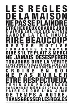 family rules / home rules poster lacabaneaeugene. Words Quotes, Wise Words, Sayings, Jolie Phrase, Quote Citation, Family Rules, Think, French Quotes, Learn French