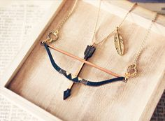 Tribal Bow and Arrow layered Necklace - Double necklace