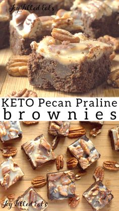 Keto Pecan Praline Brownies = The Best Brownie Ever. Low Carb Grain-Free Gluten-Free Sugar-Free THM S. Rich full of chocolate covered with pecans and creamy praline. Keto Friendly Desserts, Low Carb Desserts, Dessert Recipes, Breakfast Recipes, Lunch Recipes, Diet Recipes, Brownies Cétoniques, Best Brownies, Keto Postres