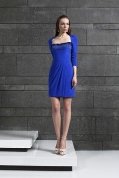 Style 14 I Short fitted three quarter sleeve Royal Blue dress in Moroccan Crepe with a draped skirt and an embroidered neckline