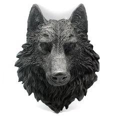 Cabeza de lobo fabricada de resina para pared