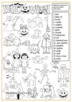 Halloween - matching worksheet - Free ESL printable worksheets made by teachers Halloween Vocabulary, Halloween Worksheets, Worksheets For Kids, Printable Worksheets, Halloween Words, Halloween Games, Halloween Crafts, Halloween Party, Trendy Halloween