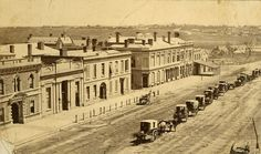 King William Street, 1890    B 171    King William Street, Adelaide, west side, with North Terrace in the distance. The original ES bank premises and the Bank of Adelaide can be seen. The building with a verandah is the original Gresham Hotel. Horse cabs for hire line the centre of the road. Gresham place is shown. Living In Adelaide, City Of Adelaide, Adelaide South Australia, Victoria Australia, Local History, Modern History, Family History, Advance Australia Fair, Australia