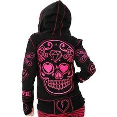 Poizen Industries - Sugar Skull Hoody (Black/Pink) *LAST ONE ...