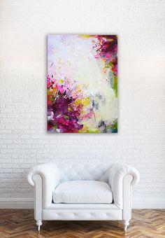 Pintura abstracta colorida grande original arte moderno