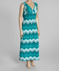 This Teal Chevron Surplice Maxi Dress - Plus is perfect! #zulilyfinds