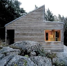 If you´re not a DIY-person, get a prefab cabin. This one is from Norwegian mkbs arkitekter, it´s only 35 sqm but seems to have room for everything you need. More on woody35.no