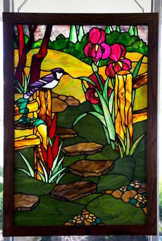 Large Garden Path Stained Glass Panel
