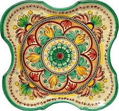 Ceramic Square Serving Plate. Antique Green Hand painted in Spain