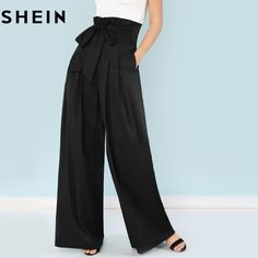 SHEIN Self Belted Box Pleated Palazzo Pants Women Elegant Loose Long Pants  18 Fall Ginger High Waist Wide Leg Pants ec8fc292bd23