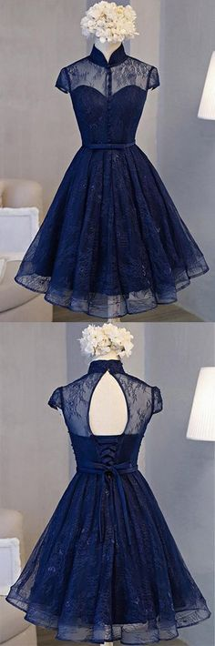Vintage homecoming dresses, lace homecoming dresses, navy blue homecoming dress - Outfit - Best Shoes World Vintage Homecoming Dresses, Navy Blue Homecoming Dress, Prom Party Dresses, Vintage Dresses, Evening Dresses, Dress Party, Vintage Shoes, Vintage Black, Vintage Style