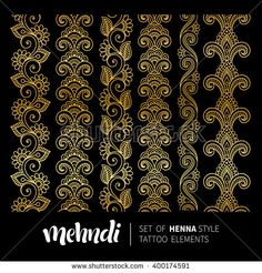Find Vector Illustration Gold Mehndi Pattern Set stock images in HD and millions of other royalty-free stock photos, illustrations and vectors in the Shutterstock collection. Thousands of new, high-quality pictures added every day. Bead Embroidery Patterns, Hand Embroidery Designs, Batik Pattern, Pattern Art, Henna Style Tattoos, Cnc Cutting Design, Branding Tools, Baroque Design, Mehndi Patterns