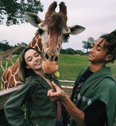 Jaden Smith and  Sarah Snydar with a giraffe. Courtesy @sarahfuckingsnyder Instagram