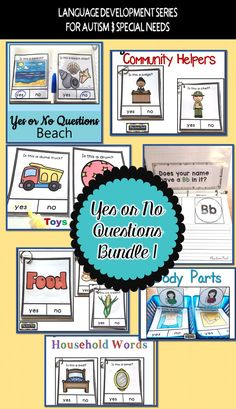 "Students on the autism spectrum or early childhood practice giving a reliable ""yes"" ""no"" response with this bundle of 7 resources. Topics include beach; body parts; community helpers; food; household words; toys; and letters in my name.#autism #autistic #teaching #SpecialEducation"