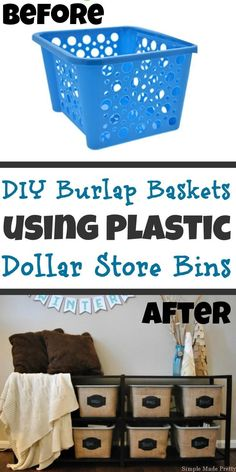 Find out how I made these DIY Burlap Baskets using Plastic Dollar Store Bins! DIY Dollar Tree bins Dollar store bins Dollar Store DIY Do it yourself burlap baskets burlap baskets Find out how I made Dollar Store Hacks, Dollar Store Bins, Dollar Stores, Dollar Store Mirror, Dollar Dollar, Thrift Store Crafts, Dollar Tree Baskets, Dollar Tree Decor, Dollar Tree Crafts