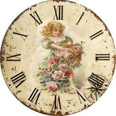 decoupage vintage image on clock face Vintage Abbildungen, Decoupage Vintage, Vintage Labels, Vintage Ephemera, Vintage Cards, Vintage Prints, Vintage Clocks, Decoupage Art, Clock Art