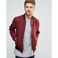 ASOS Bomber Jacket With Zip Chest Pocket In Burgundy ($49) ❤ liked on Polyvore…