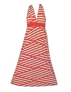 Halter top maxi dress has a lightly padded but, elastic waist, long stylish skirt. sonsi.com
