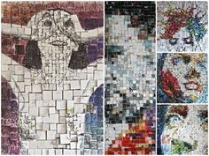 Three-dimensional recycled collages #Collage, #Face, #PaperBooks, #Pixel, #Portrait