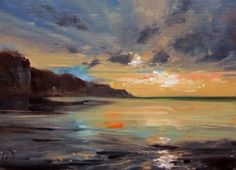 Watery Sunset, painting by artist Nigel Fletcher by lucia
