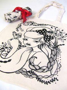 canvas bag illustration print