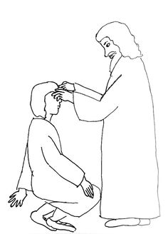 People seeing the blind man and Jesus Christ while Jesus healing