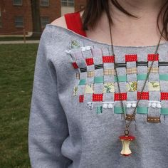 Woven Ribbon Sweatshirt - all it takes is an old sweatshirt and some ribbon!