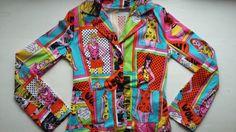 Vintage Comic Jacket 90s / Vintage Pop Art Jacket 90s / Vintage Retro Women Jacket / Vintage Comic Woman Blazer 90s