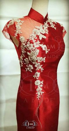 Ivory lace n red cheongsam