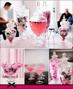 Love this pink and black themed anniversary party!!!