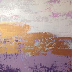 Abstrakte Malerei rund Gold abstrakt Creme von JenniferFlanniganart