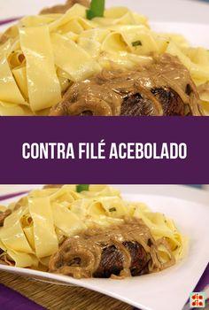 Contra Filé Acebolado do Bork Meat Recipes, Ale, Chicken, Cooking, Healthy, Peru, Foods, Raspberries, Rice