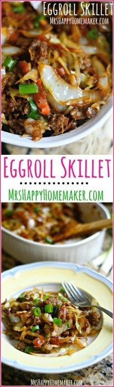 Love Egg Rolls? Well, I've got a dish for you! All the egg roll flavors you love all cooked up into one yummy one dish meal! Egg Roll Skillet, y'all! | http://MrsHappyHomemaker.com @thathousewife