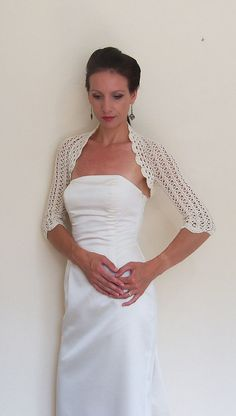 WEDDING lace SHRUG BRIDAL bolero crochet with by HandmadeLaremi, $92.00
