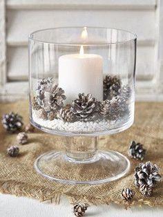pinecones inspired rustic winter wedding centerpieces