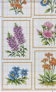 Cross-stitch Flowers, part color chart on part 3 Gallery. Funny Cross Stitch Patterns, Cross Stitch Love, Cross Stitch Cards, Cross Stitch Borders, Cross Stitch Flowers, Cross Stitch Designs, Cross Stitching, Cross Stitch Embroidery, Filet Crochet