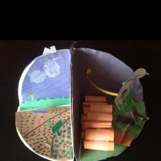 """diorama of the Colonies. They used paper plates to create each side of the dioramas. One side represented what that colony did for work, another side represented how that colony dressed, the other side represented what the colonies houses looked like and the fourth side represented what vegetations their colonies grew. This worked really well and also emphasized """"team work."""" My students really were proud of their finished dioramas."""