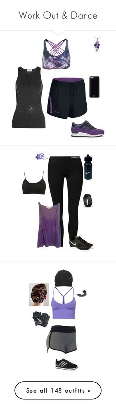 """""""Work Out & Dance"""" by gone-girl ❤ liked on Polyvore featuring Onzie, adidas, NIKE, Asics, Glitzy Rocks, Gooey, Forever 21, Wet Seal, Fitbit and Fila"""