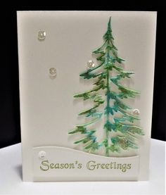 Seasons Greetings by Shoe Girl - Cards and Paper Crafts at Splitcoaststampers Die Cut Christmas Cards, Xmas Cards, Napkin Cards, Bird Cards, Scrapbook Cards, Scrapbooking, Winter Cards, Cool Cards, Greeting Cards Handmade