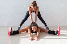 … Partner Stretches, Stretching Exercises, Personal Trainer, Gym Workouts, Trainers, Gym Equipment, Muscle, Stock Photos, Running