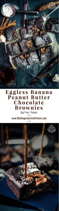 Eggless Banana Peanut Butter Chocolate Brownies | mygingergarlickitchen.com/ @anupama_dreams