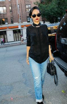 Rihanna   Black Button - Up   Gold Chain   Black Shoes   Black Shades   Red Lips