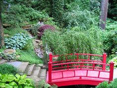 Another traditional Chinese red bridge connecting two sets of concrete path through a very naturally-growing ornamental garden. A waterfall peeks out from beneath heavy foliage.