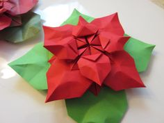 origami flower floral poinsettia Christmas decoration paper