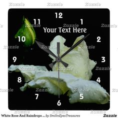 White Rose And Raindrops Flower Square Wall Clock.  From Smilin' Eyes Treasures at Zazzle.