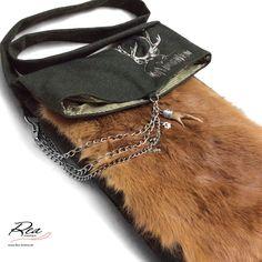 ReaSack classic 'red hair Bambi' by ReaAndrea -- Original Tiroler Gebirgsloden 100% Schurwolle  grün - Kaninchenfell bayerisch glücklich 'Fuchs Langhaar' - Futter reine Seide - Edelstahl - Original Charivari Rehbock-Krickerl - Masse cm 29 b + 41 h (aufgeklappt 64) - Trageriemen 100 cm